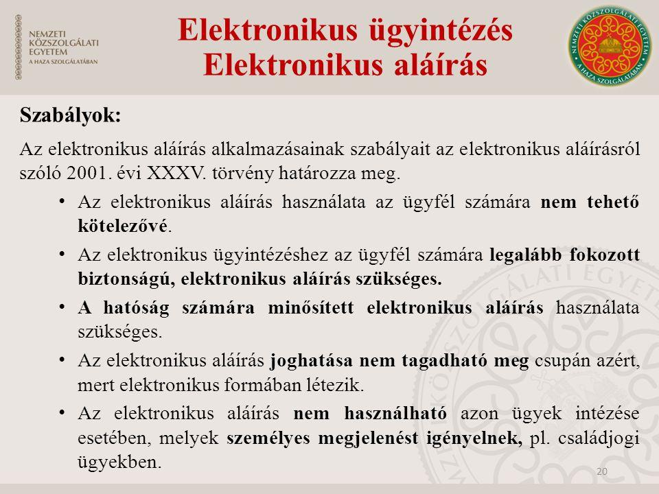 Szabályok: Az elektronikus aláírás alkalmazásainak szabályait az elektronikus aláírásról szóló 2001. évi XXXV. törvény határozza meg. Az elektronikus