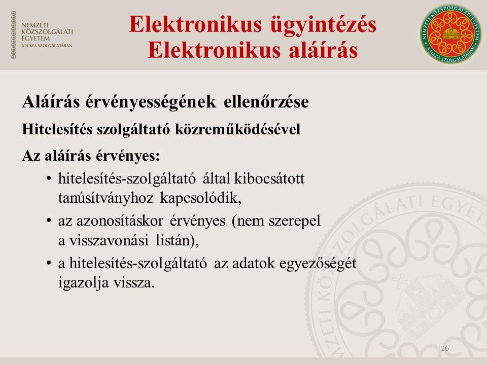 Elektronikus ügyintézés Elektronikus aláírás Aláírás érvényességének ellenőrzése Hitelesítés szolgáltató közreműködésével Az aláírás érvényes: hiteles