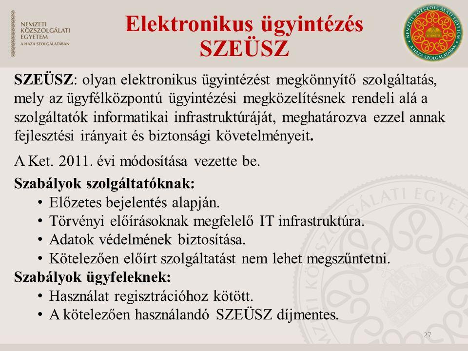 Elektronikus ügyintézés SZEÜSZ SZEÜSZ: olyan elektronikus ügyintézést megkönnyítő szolgáltatás, mely az ügyfélközpontú ügyintézési megközelítésnek ren