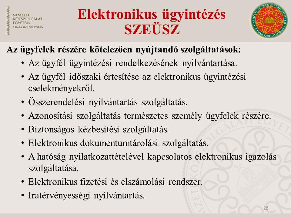 Elektronikus ügyintézés SZEÜSZ Az ügyfelek részére kötelezően nyújtandó szolgáltatások: Az ügyfél ügyintézési rendelkezésének nyilvántartása. Az ügyfé
