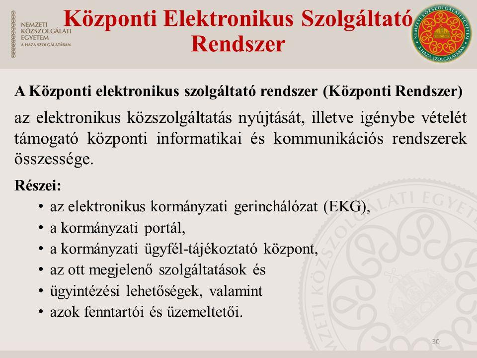 Központi Elektronikus Szolgáltató Rendszer A Központi elektronikus szolgáltató rendszer (Központi Rendszer) az elektronikus közszolgáltatás nyújtását,