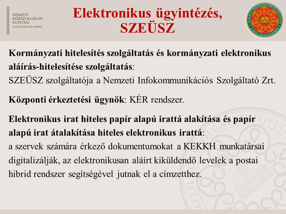 Elektronikus ügyintézés, SZEÜSZ Kormányzati hitelesítés szolgáltatás és kormányzati elektronikus aláírás-hitelesítése szolgáltatás: SZEÜSZ szolgáltató