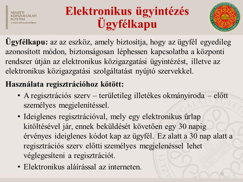 Elektronikus ügyintézés Ügyfélkapu Ügyfélkapu: az az eszköz, amely biztosítja, hogy az ügyfél egyedileg azonosított módon, biztonságosan léphessen kap