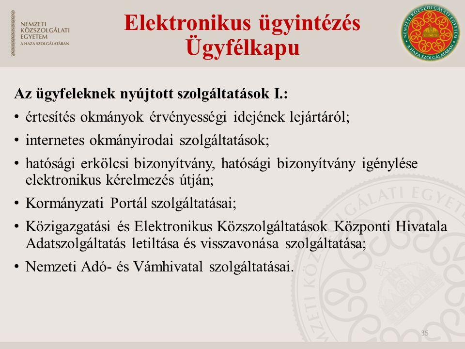 Elektronikus ügyintézés Ügyfélkapu 35 Az ügyfeleknek nyújtott szolgáltatások I.: értesítés okmányok érvényességi idejének lejártáról; internetes okmán