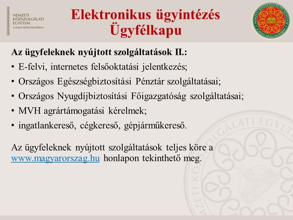 Elektronikus ügyintézés Ügyfélkapu Az ügyfeleknek nyújtott szolgáltatások II.: E-felvi, internetes felsőoktatási jelentkezés; Országos Egészségbiztosí
