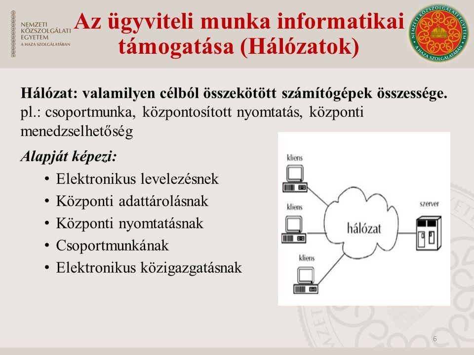 Az ügyviteli munka informatikai támogatása (Hálózatok) Hálózat: valamilyen célból összekötött számítógépek összessége. pl.: csoportmunka, központosíto