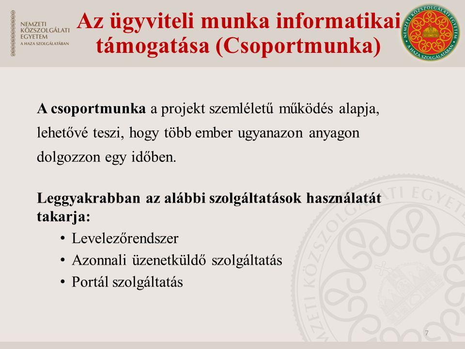 Az ügyviteli munka informatikai támogatása (Csoportmunka) A csoportmunka a projekt szemléletű működés alapja, lehetővé teszi, hogy több ember ugyanazo