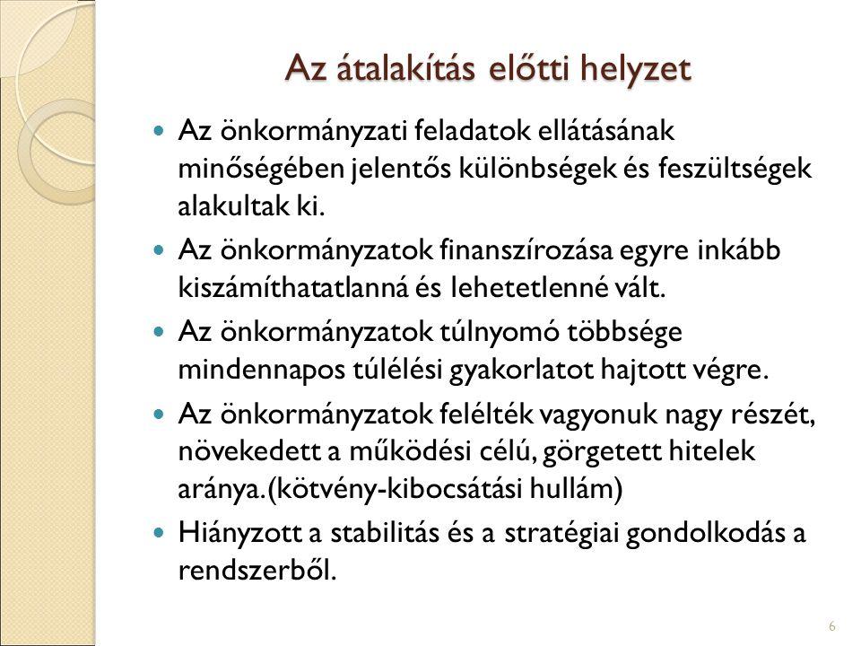 Az átalakítás előtti helyzet Az önkormányzati feladatok ellátásának minőségében jelentős különbségek és feszültségek alakultak ki. Az önkormányzatok f