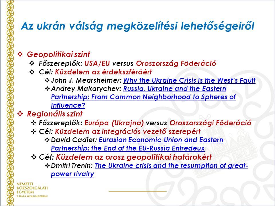 Az ukrán válság megközelítési lehetőségeiről  Geopolitikai szint  Főszereplők: USA/EU versus Oroszország Föderáció  Cél: Küzdelem az érdekszféráért