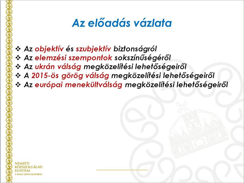 Az előadás vázlata  Az objektív és szubjektív biztonságról  Az elemzési szempontok sokszínűségéről  Az ukrán válság megközelítési lehetőségeiről 
