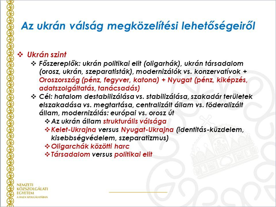 Az ukrán válság megközelítési lehetőségeiről  Ukrán szint  Főszereplők: ukrán politikai elit (oligarhák), ukrán társadalom (orosz, ukrán, szeparatis