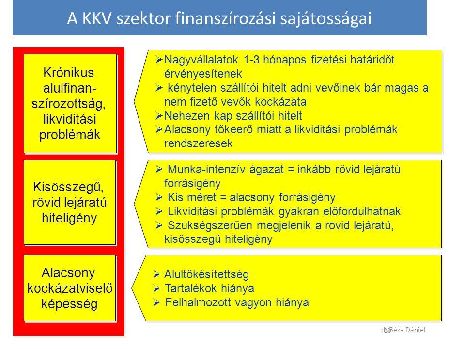 Krónikus alulfinan- szírozottság, likviditási problémák Krónikus alulfinan- szírozottság, likviditási problémák  Nagyvállalatok 1-3 hónapos fizetési határidőt érvényesítenek  kénytelen szállítói hitelt adni vevőinek bár magas a nem fizető vevők kockázata  Nehezen kap szállítói hitelt  Alacsony tőkeerő miatt a likviditási problémák rendszeresek  Nagyvállalatok 1-3 hónapos fizetési határidőt érvényesítenek  kénytelen szállítói hitelt adni vevőinek bár magas a nem fizető vevők kockázata  Nehezen kap szállítói hitelt  Alacsony tőkeerő miatt a likviditási problémák rendszeresek Alacsony kockázatviselő képesség Alacsony kockázatviselő képesség  Alultőkésítettség  Tartalékok hiánya  Felhalmozott vagyon hiánya  Alultőkésítettség  Tartalékok hiánya  Felhalmozott vagyon hiánya Kisösszegű, rövid lejáratú hiteligény Kisösszegű, rövid lejáratú hiteligény  Munka-intenzív ágazat = inkább rövid lejáratú forrásigény  Kis méret = alacsony forrásigény  Likviditási problémák gyakran előfordulhatnak  Szükségszerűen megjelenik a rövid lejáratú, kisösszegű hiteligény  Munka-intenzív ágazat = inkább rövid lejáratú forrásigény  Kis méret = alacsony forrásigény  Likviditási problémák gyakran előfordulhatnak  Szükségszerűen megjelenik a rövid lejáratú, kisösszegű hiteligény A KKV szektor finanszírozási sajátosságai dr.Béza Dániel 16