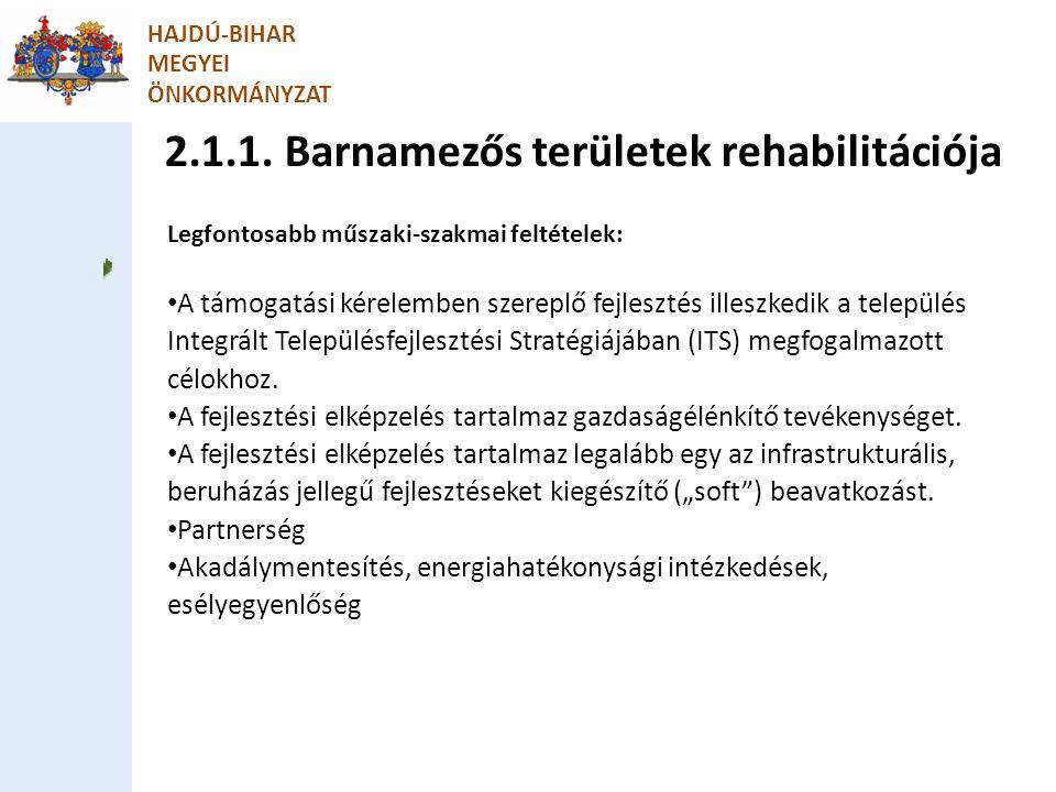 2.1.1. Barnamezős területek rehabilitációja HAJDÚ-BIHAR MEGYEI ÖNKORMÁNYZAT Legfontosabb műszaki-szakmai feltételek: A támogatási kérelemben szereplő