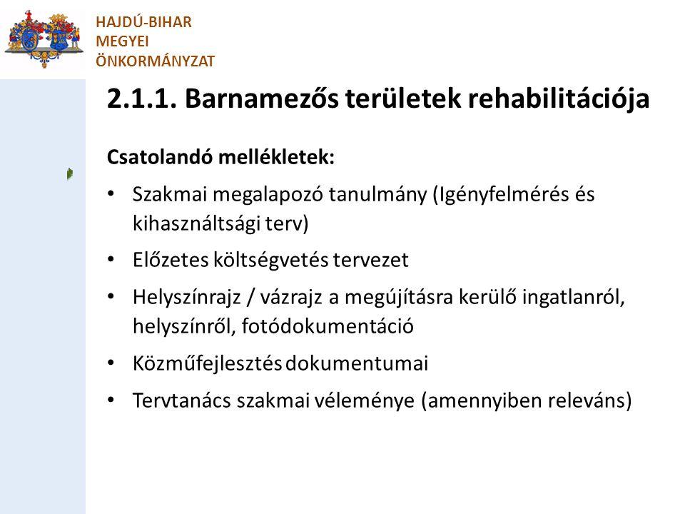 2.1.1. Barnamezős területek rehabilitációja HAJDÚ-BIHAR MEGYEI ÖNKORMÁNYZAT Csatolandó mellékletek: Szakmai megalapozó tanulmány (Igényfelmérés és kih