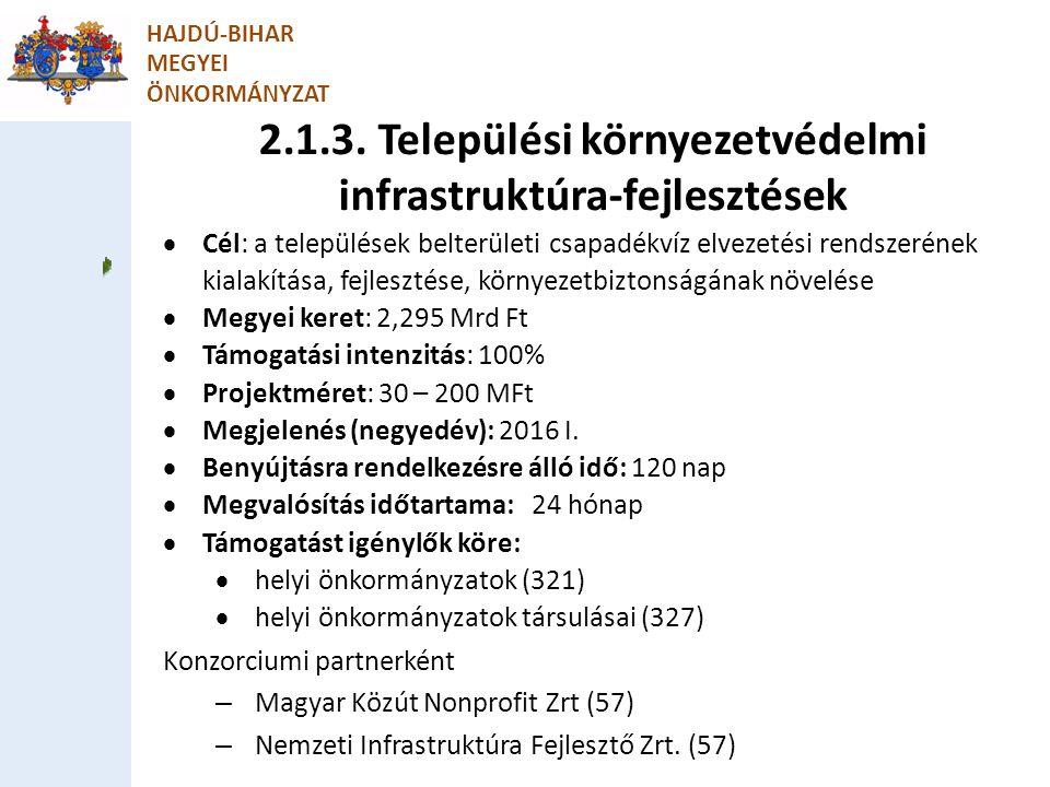 2.1.3. Települési környezetvédelmi infrastruktúra-fejlesztések HAJDÚ-BIHAR MEGYEI ÖNKORMÁNYZAT  Cél: a települések belterületi csapadékvíz elvezetési