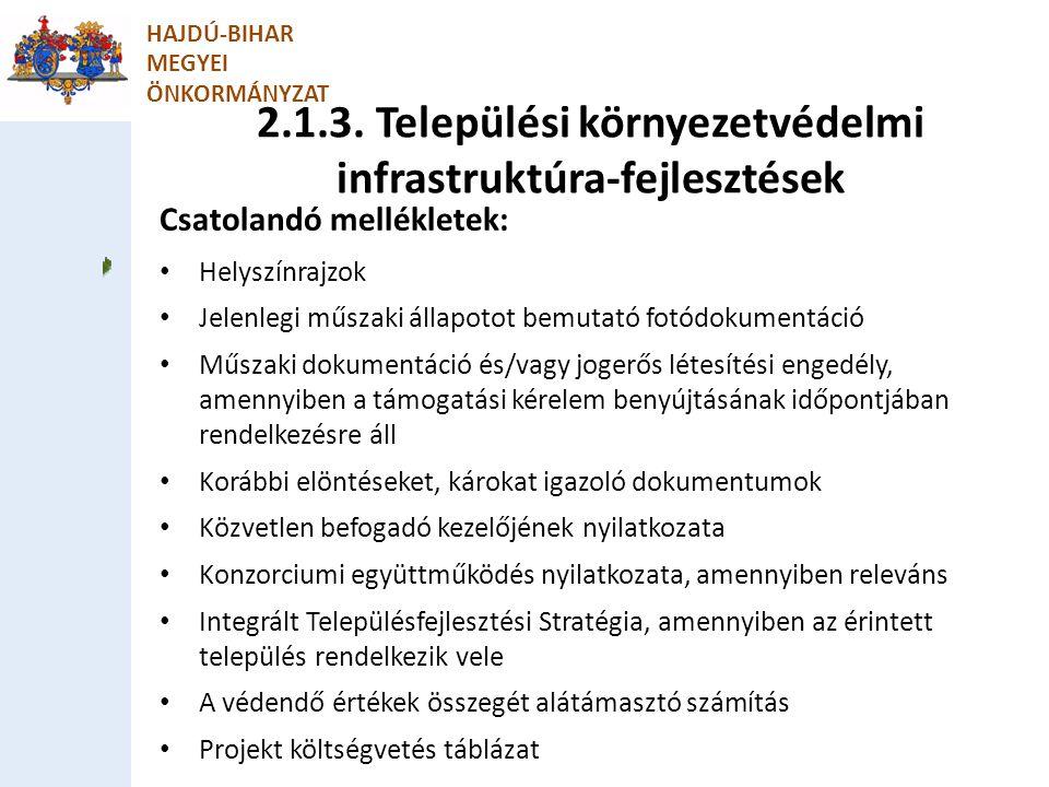 2.1.3. Települési környezetvédelmi infrastruktúra-fejlesztések HAJDÚ-BIHAR MEGYEI ÖNKORMÁNYZAT Csatolandó mellékletek: Helyszínrajzok Jelenlegi műszak