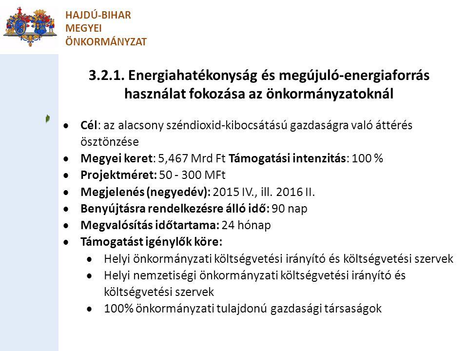 3.2.1. Energiahatékonyság és megújuló-energiaforrás használat fokozása az önkormányzatoknál HAJDÚ-BIHAR MEGYEI ÖNKORMÁNYZAT  Cél: az alacsony széndio