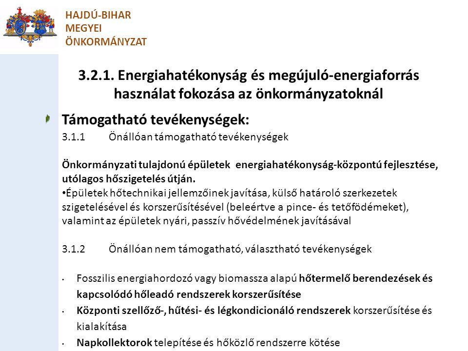 HAJDÚ-BIHAR MEGYEI ÖNKORMÁNYZAT Támogatható tevékenységek: 3.1.1Önállóan támogatható tevékenységek Önkormányzati tulajdonú épületek energiahatékonyság