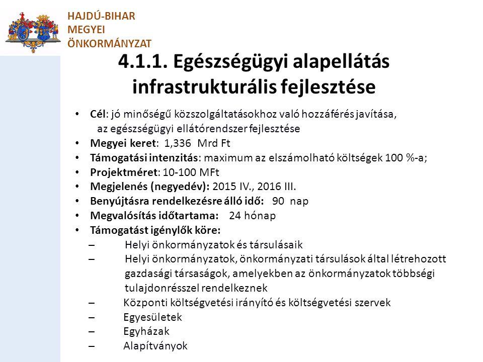 4.1.1. Egészségügyi alapellátás infrastrukturális fejlesztése HAJDÚ-BIHAR MEGYEI ÖNKORMÁNYZAT Cél: jó minőségű közszolgáltatásokhoz való hozzáférés ja