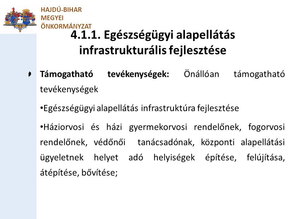 4.1.1. Egészségügyi alapellátás infrastrukturális fejlesztése HAJDÚ-BIHAR MEGYEI ÖNKORMÁNYZAT Támogatható tevékenységek: Önállóan támogatható tevékeny