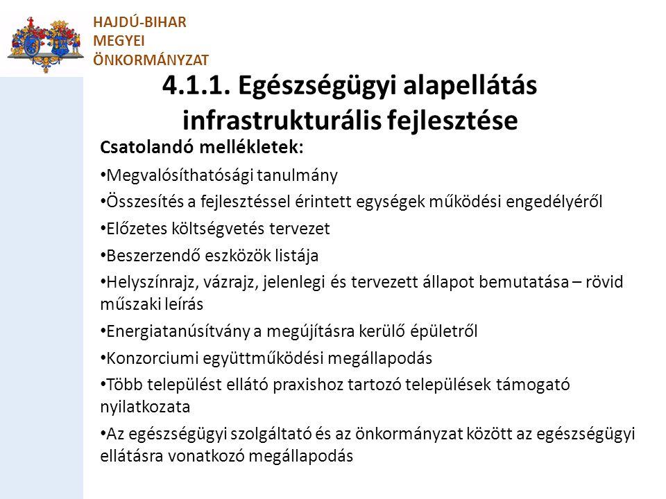 4.1.1. Egészségügyi alapellátás infrastrukturális fejlesztése HAJDÚ-BIHAR MEGYEI ÖNKORMÁNYZAT Csatolandó mellékletek: Megvalósíthatósági tanulmány Öss