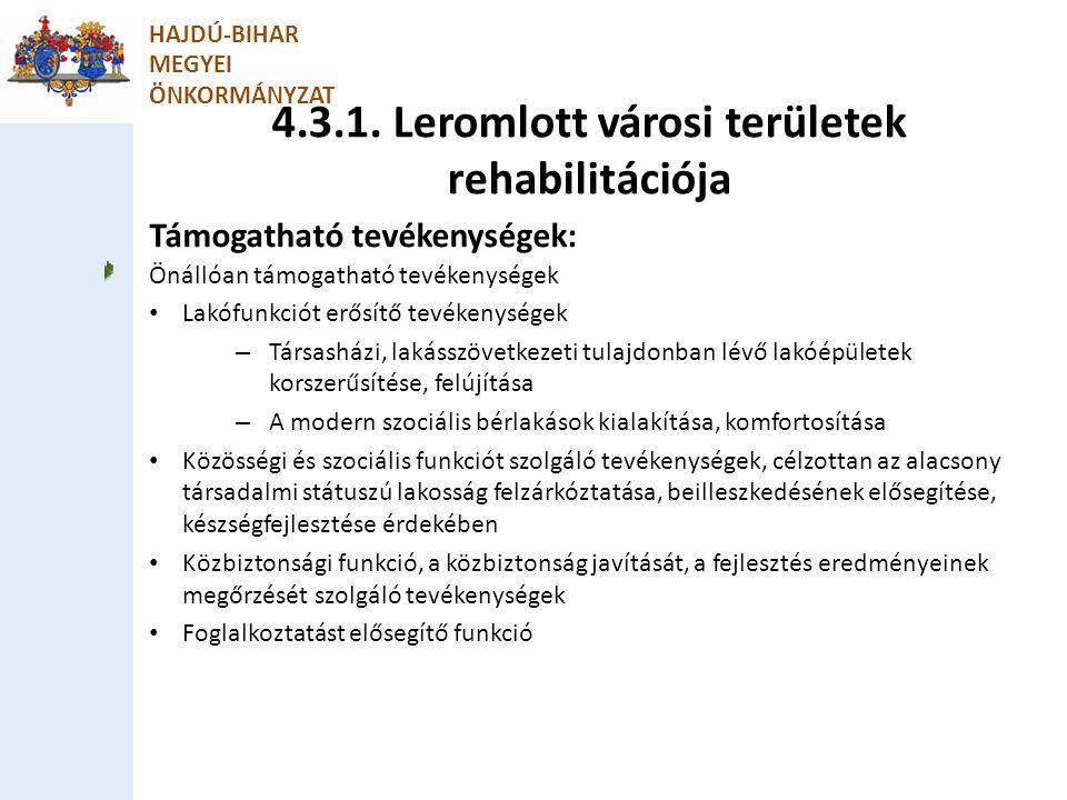 4.3.1. Leromlott városi területek rehabilitációja HAJDÚ-BIHAR MEGYEI ÖNKORMÁNYZAT Támogatható tevékenységek: Önállóan támogatható tevékenységek Lakófu