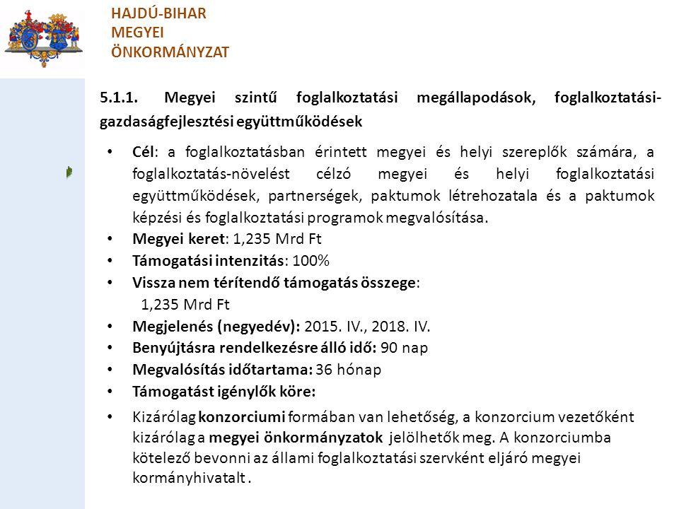 5.1.1. Megyei szintű foglalkoztatási megállapodások, foglalkoztatási- gazdaságfejlesztési együttműködések HAJDÚ-BIHAR MEGYEI ÖNKORMÁNYZAT Cél: a fogla
