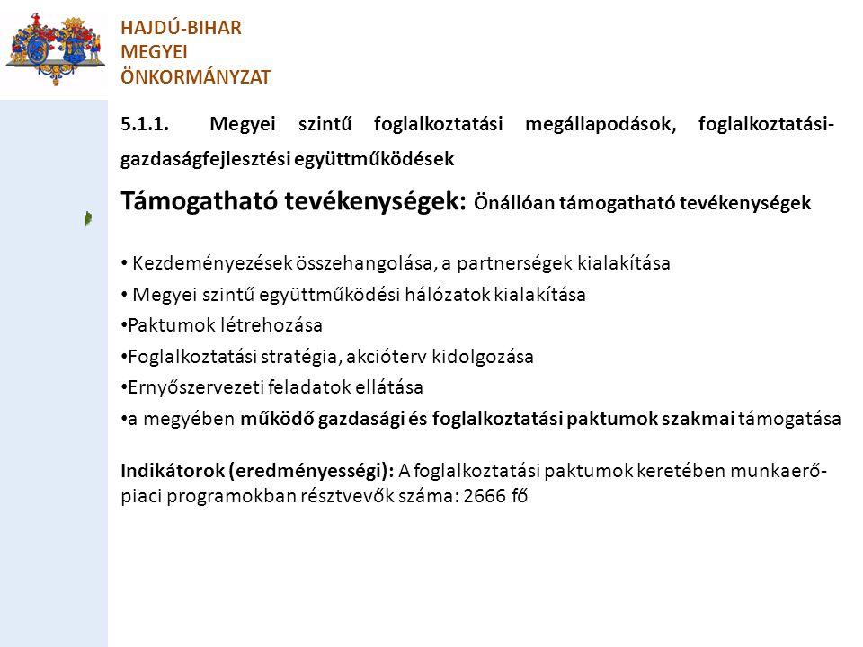 5.1.1. Megyei szintű foglalkoztatási megállapodások, foglalkoztatási- gazdaságfejlesztési együttműködések HAJDÚ-BIHAR MEGYEI ÖNKORMÁNYZAT Támogatható