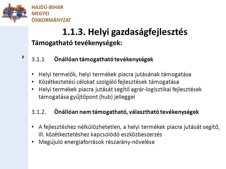 1.1.3. Helyi gazdaságfejlesztés HAJDÚ-BIHAR MEGYEI ÖNKORMÁNYZAT Támogatható tevékenységek: 3.1.1Önállóan támogatható tevékenységek Helyi termelők, hel