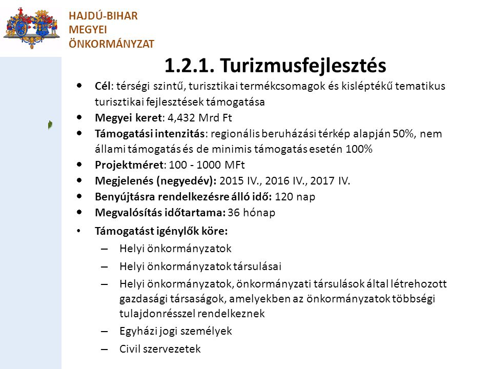 2.1.2 Zöld város kialakítása HAJDÚ-BIHAR MEGYEI ÖNKORMÁNYZAT Csatolandó mellékletek: Szakmai megalapozó tanulmány (Igényfelmérés és kihasználtsági terv) Előzetes költségvetés tervezet Helyszínrajz / vázrajz a megújításra kerülő ingatlanról, helyszínről, fotódokumentáció Közműfejlesztés dokumentumai Tervtanács szakmai véleménye (amennyiben releváns)