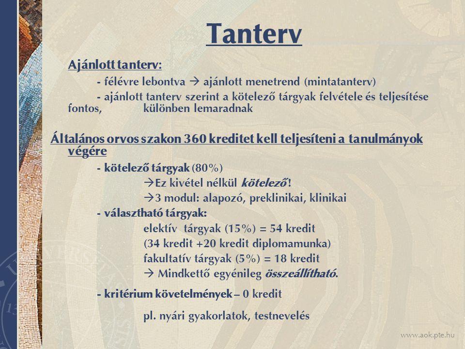 www.aok.pte.hu Tanterv Ajánlott tanterv: - félévre lebontva  ajánlott menetrend (mintatanterv) - ajánlott tanterv szerint a kötelező tárgyak felvétel