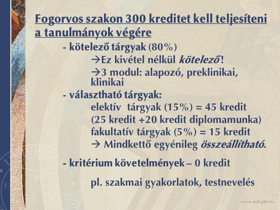 www.aok.pte.hu Fogorvos szakon 300 kreditet kell teljesíteni a tanulmányok végére - kötelező tárgyak (80%)  Ez kivétel nélkül kötelező !  3 modul: a