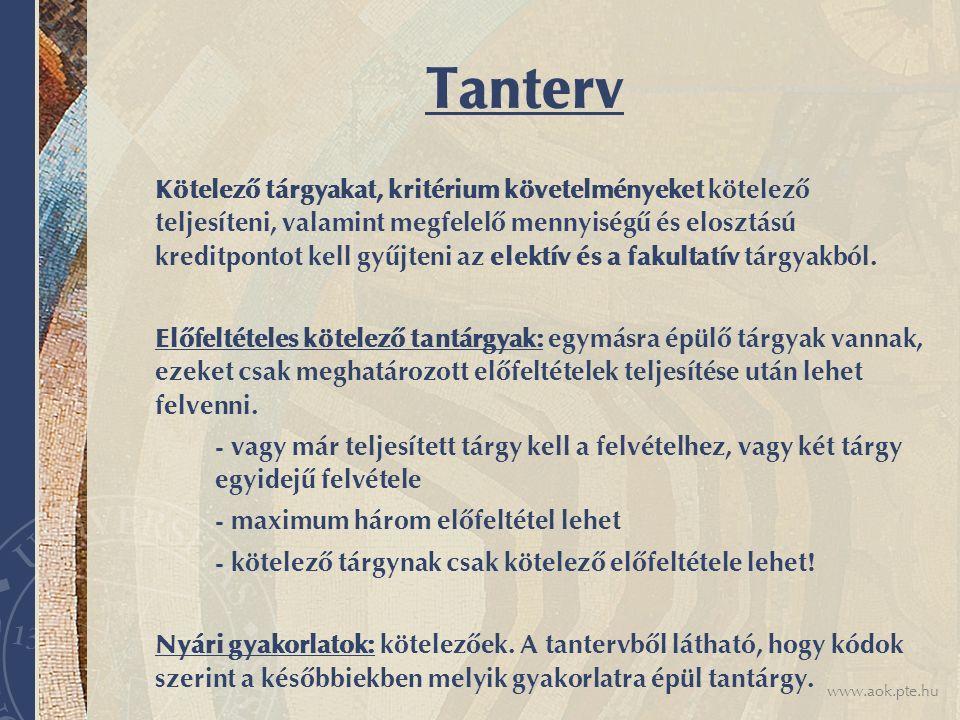 www.aok.pte.hu Tanterv Kötelező tárgyakat, kritérium követelményeket kötelező teljesíteni, valamint megfelelő mennyiségű és elosztású kreditpontot kel