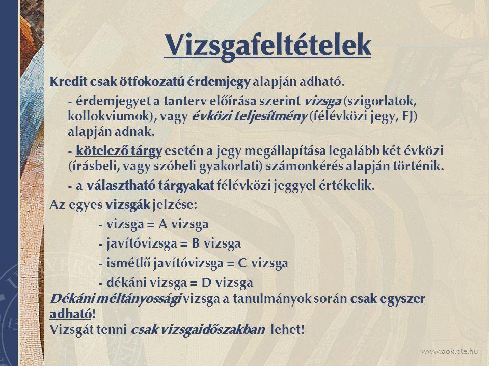 www.aok.pte.hu Vizsgafeltételek Kredit csak ötfokozatú érdemjegy alapján adható. - érdemjegyet a tanterv előírása szerint vizsga (szigorlatok, kollokv