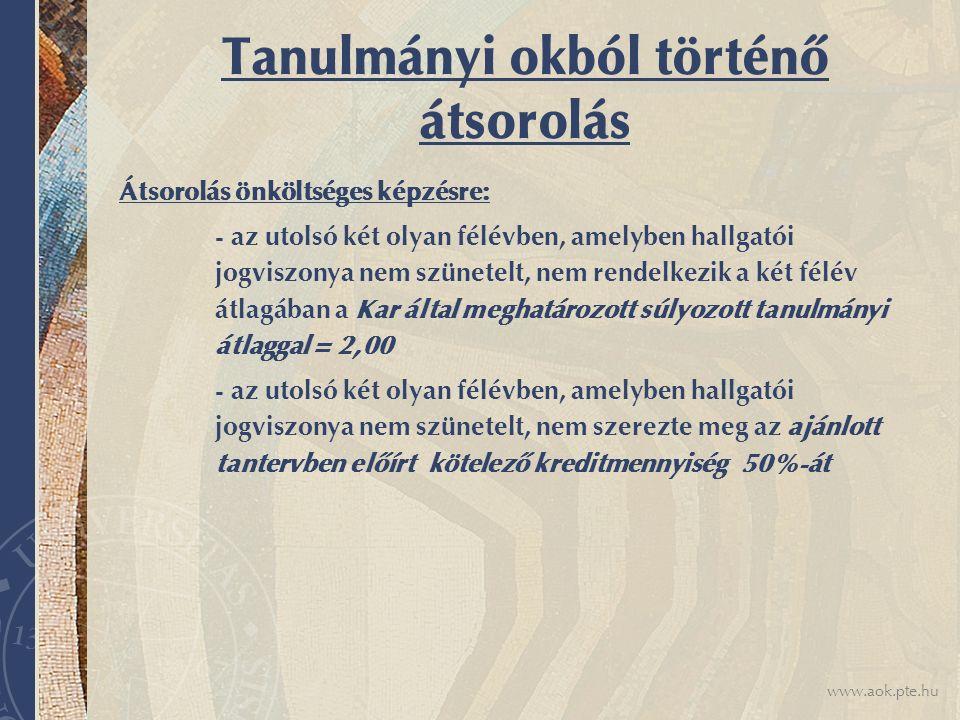 www.aok.pte.hu Tanulmányi okból történő átsorolás Átsorolás önköltséges képzésre: - az utolsó két olyan félévben, amelyben hallgatói jogviszonya nem s