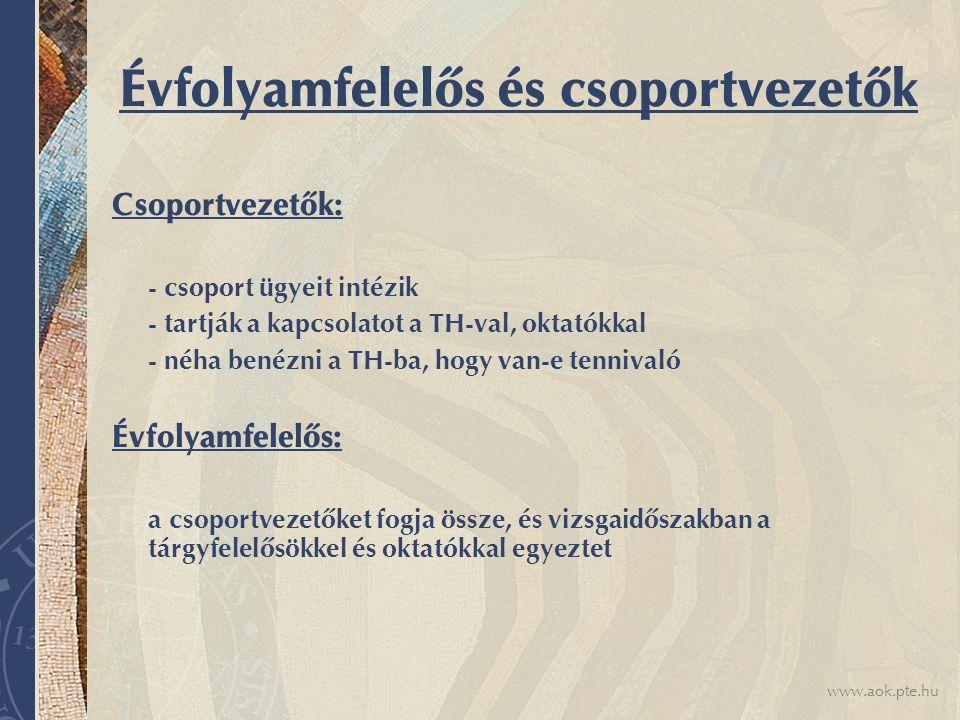 www.aok.pte.hu Évfolyamfelelős és csoportvezetők Csoportvezetők: - csoport ügyeit intézik - tartják a kapcsolatot a TH-val, oktatókkal - néha benézni