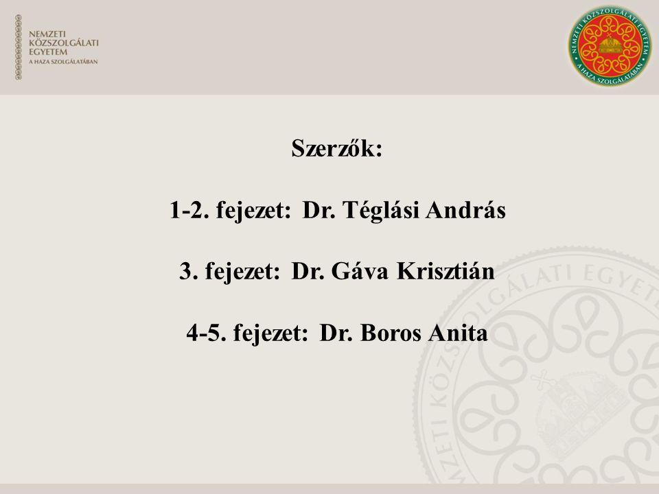 Szerzők: 1-2. fejezet: Dr. Téglási András 3. fejezet: Dr. Gáva Krisztián 4-5. fejezet: Dr. Boros Anita