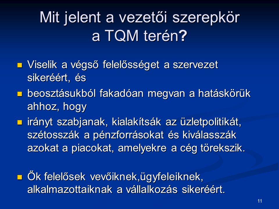 11 Mit jelent a vezetői szerepkör a TQM terén? Viselik a végső felelősséget a szervezet sikeréért, és Viselik a végső felelősséget a szervezet sikeréé
