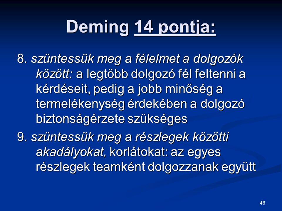 46 Deming 14 pontja: 8. szüntessük meg a félelmet a dolgozók között: a legtöbb dolgozó fél feltenni a kérdéseit, pedig a jobb minőség a termelékenység