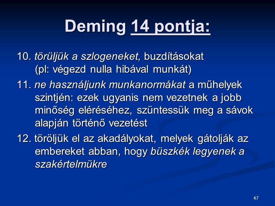 47 Deming 14 pontja: 10. törüljük a szlogeneket, buzdításokat (pl: végezd nulla hibával munkát) 11. ne használjunk munkanormákat a műhelyek szintjén: