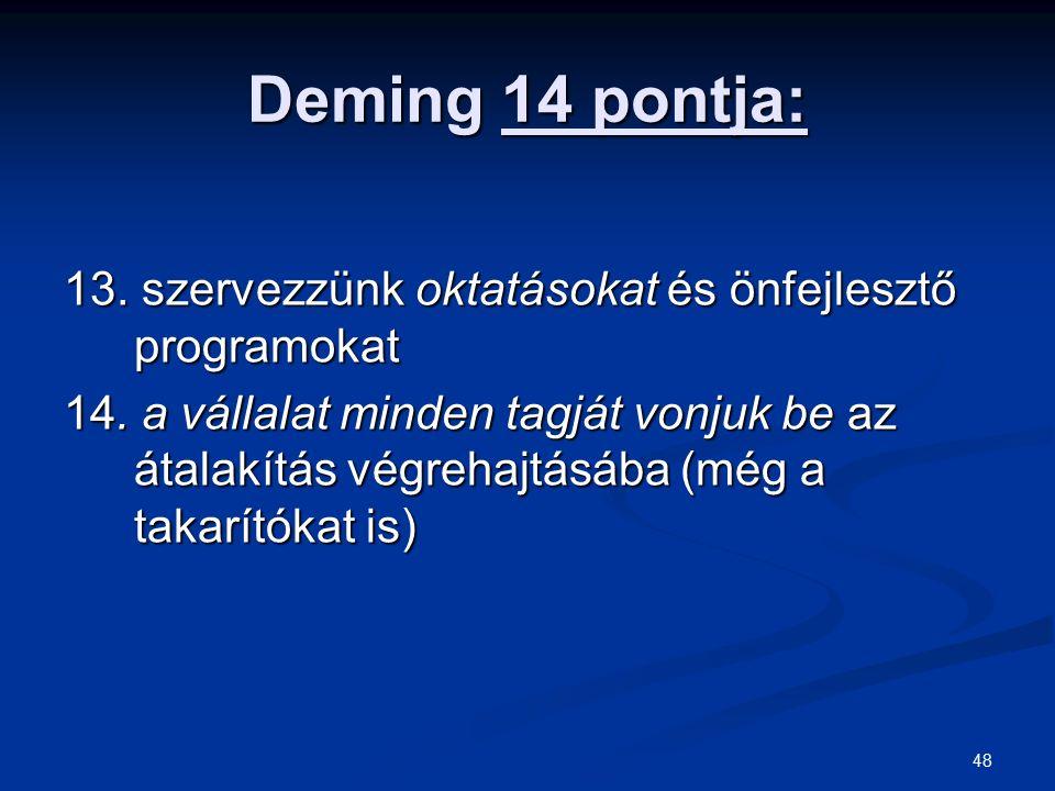 48 Deming 14 pontja: 13. szervezzünk oktatásokat és önfejlesztő programokat 14. a vállalat minden tagját vonjuk be az átalakítás végrehajtásába (még a
