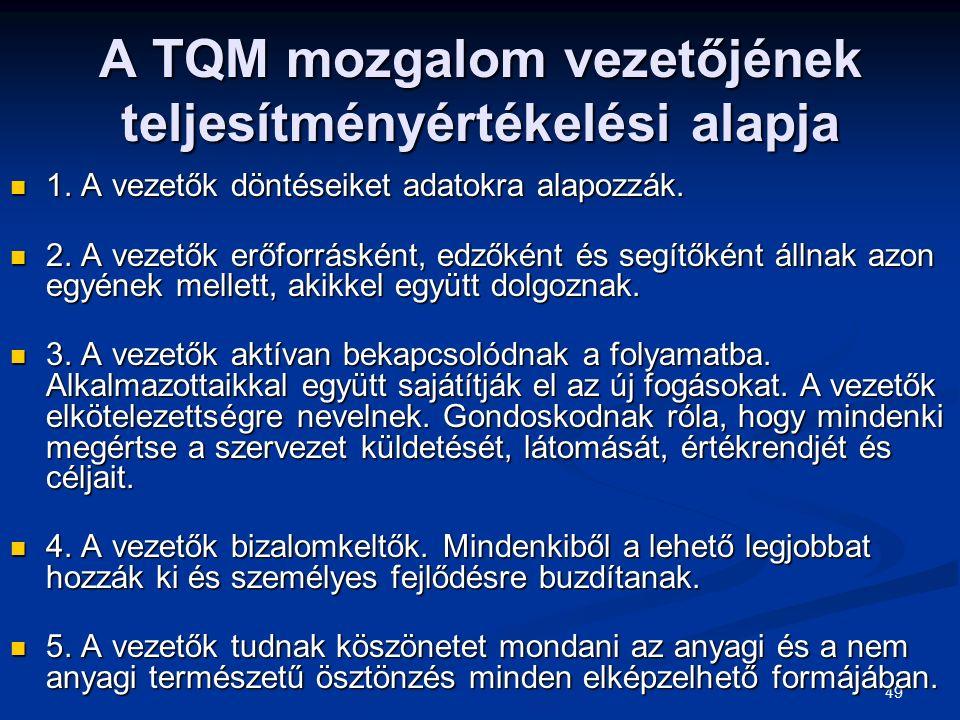 49 A TQM mozgalom vezetőjének teljesítményértékelési alapja 1. A vezetők döntéseiket adatokra alapozzák. 1. A vezetők döntéseiket adatokra alapozzák.