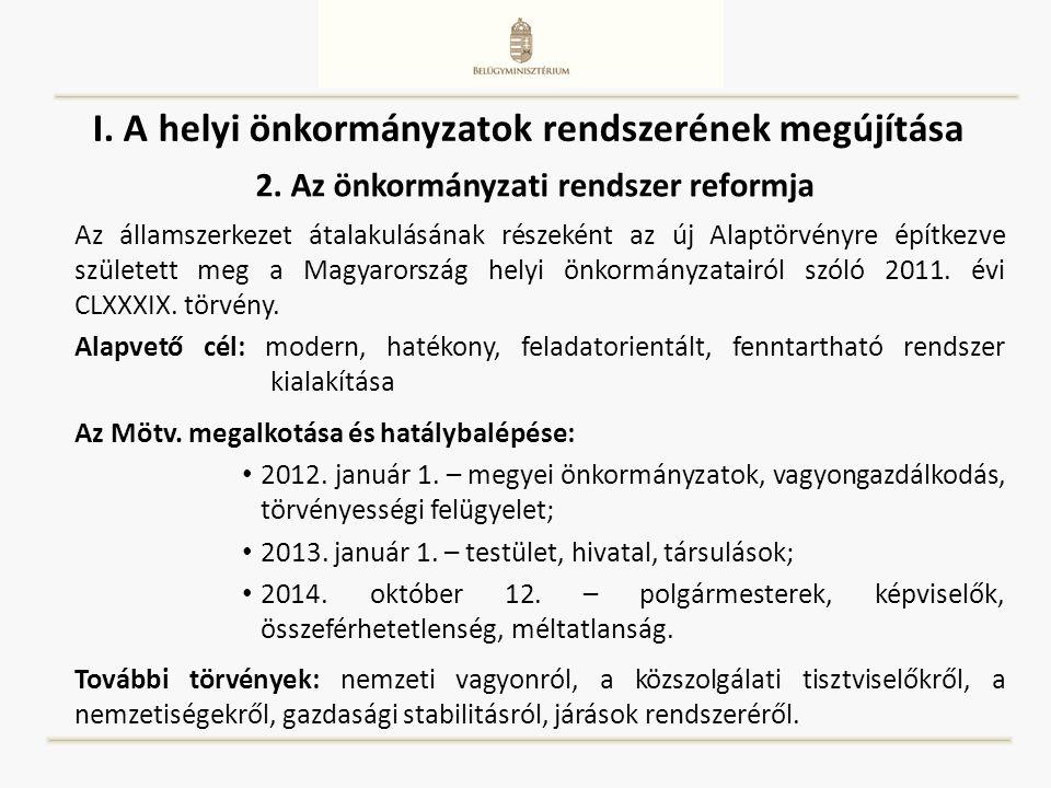 I. A helyi önkormányzatok rendszerének megújítása Az államszerkezet átalakulásának részeként az új Alaptörvényre építkezve született meg a Magyarorszá