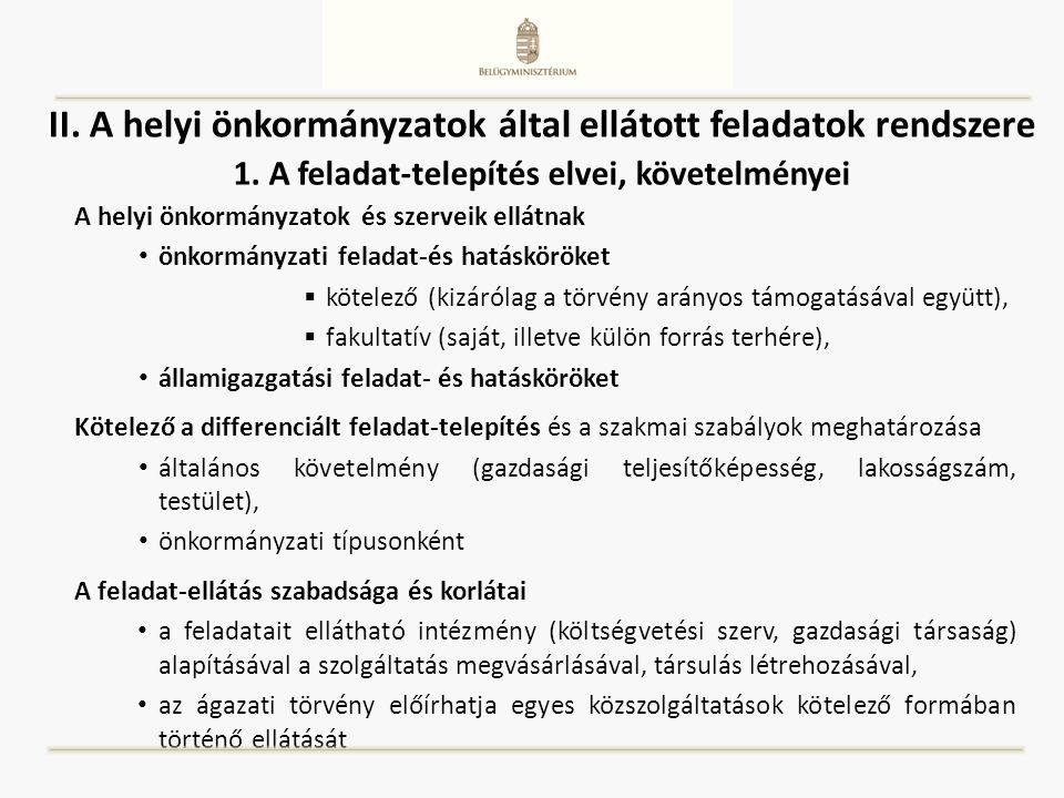 II. A helyi önkormányzatok által ellátott feladatok rendszere A helyi önkormányzatok és szerveik ellátnak önkormányzati feladat-és hatásköröket  köte