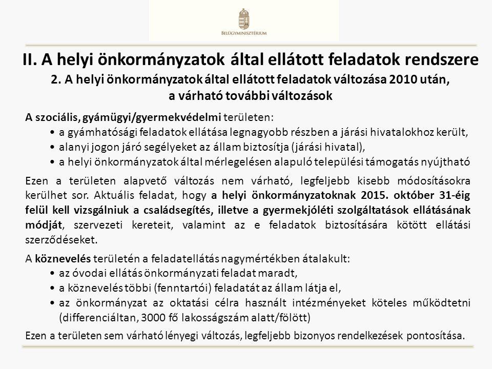 II. A helyi önkormányzatok által ellátott feladatok rendszere 2. A helyi önkormányzatok által ellátott feladatok változása 2010 után, a várható tovább