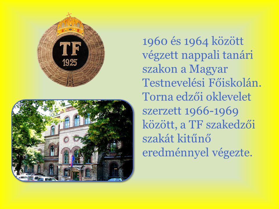 1960 és 1964 között végzett nappali tanári szakon a Magyar Testnevelési Főiskolán. Torna edzői oklevelet szerzett 1966-1969 között, a TF szakedzői sza