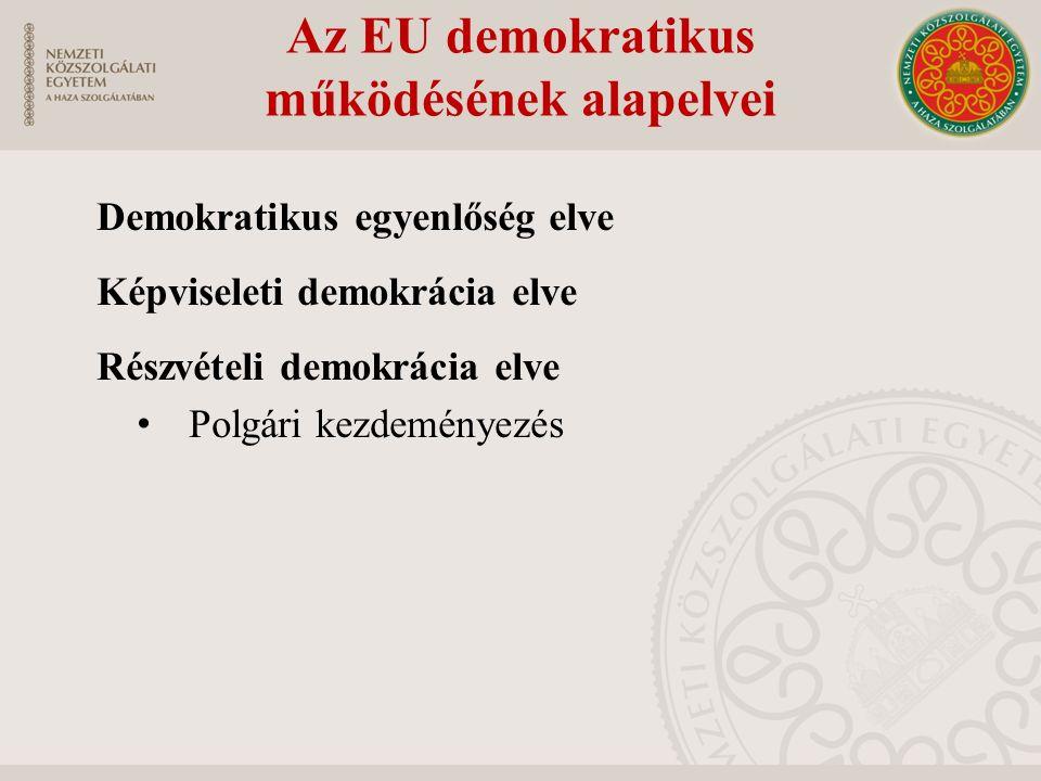 Az EU demokratikus működésének alapelvei Demokratikus egyenlőség elve Képviseleti demokrácia elve Részvételi demokrácia elve Polgári kezdeményezés