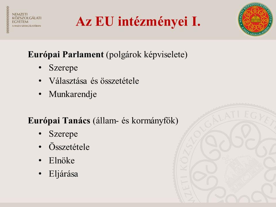 Az EU intézményei I. Európai Parlament (polgárok képviselete) Szerepe Választása és összetétele Munkarendje Európai Tanács (állam- és kormányfők) Szer