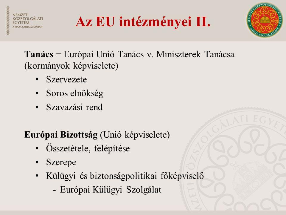 Az EU intézményei II. Tanács = Európai Unió Tanács v. Miniszterek Tanácsa (kormányok képviselete) Szervezete Soros elnökség Szavazási rend Európai Biz