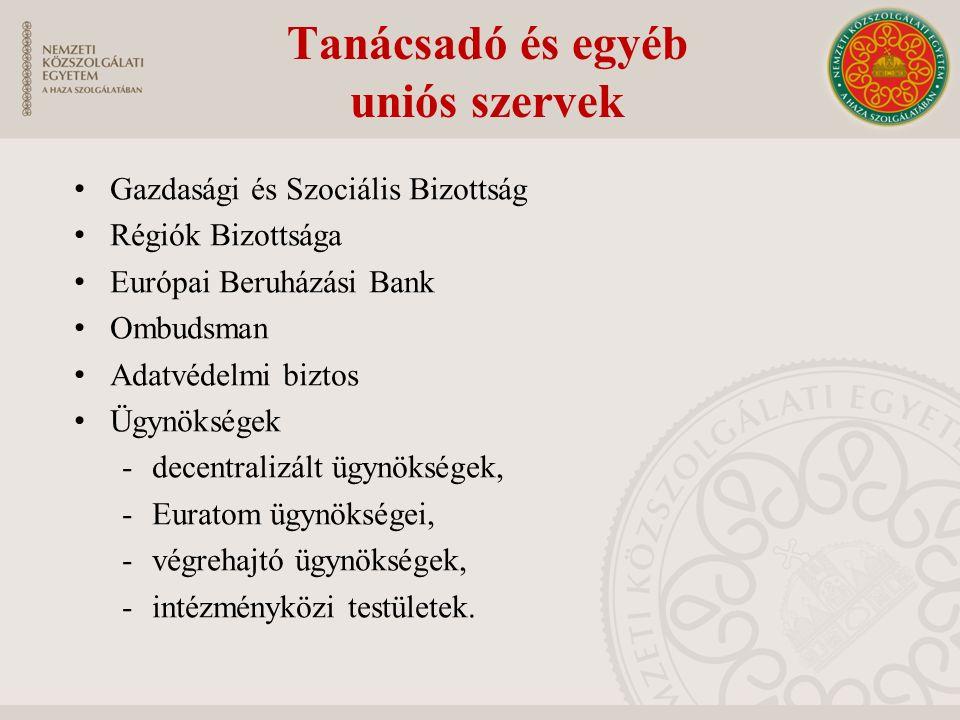 Tanácsadó és egyéb uniós szervek Gazdasági és Szociális Bizottság Régiók Bizottsága Európai Beruházási Bank Ombudsman Adatvédelmi biztos Ügynökségek -